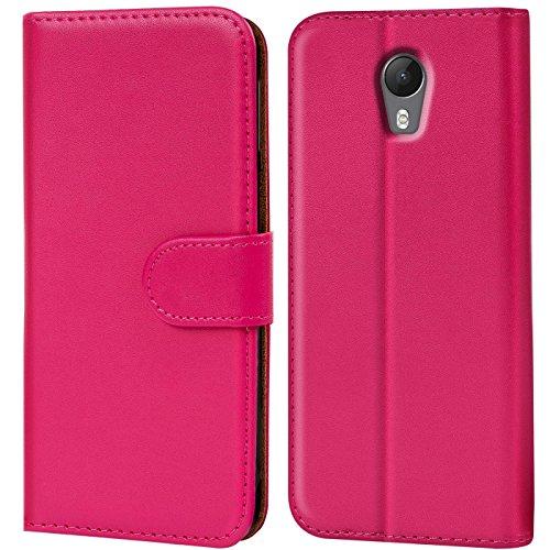 Verco Jerry 2 Hülle, Handyhülle für Wiko Jerry 2 Tasche PU Leder Flip Case Brieftasche - Pink