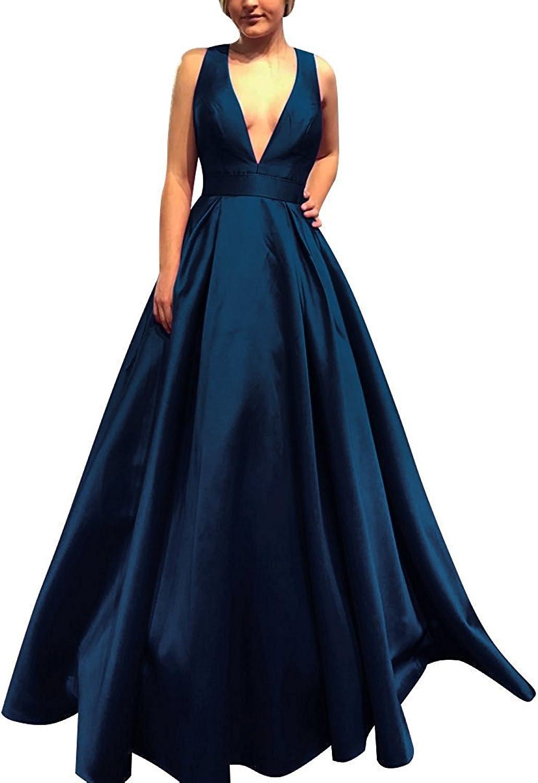 Hjtrust Women's Prom Dresses Long VNeck Satin Formal Evening Dresses 2018 H061