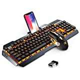 Rechargeable Keyboard and Mouse,Suspended Keycap Mechanical Feel Metal Panel Gaming Keyboard Mouse Combo,3800mAh Large Capacity Lithium Battery,Anti-ghosting (Black)