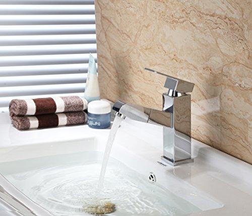 Homfa ausziehbare Waschtischarmatur. Küchenarmatur mit Einhandmischer, ausziehbarer Schlauchbrause und Keramik-Kartusche aus verchromtem Messing - 8