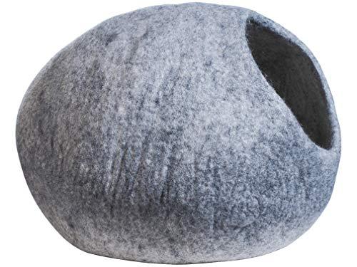 aumondo FilzKatzenhöhle, Katzenbett,Kuschelhöhle für Katzen. Liebevoll handgefertigt für Deine Katze. Katzenhausaus 100% natürlicher Schafwolle, grau