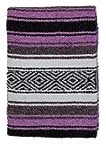 El Paso Designs Mexican Yoga Blanket | Colorful Falsa Serape | Park Blanket, Yoga Towel, Picnic, Beach Blanket, Patio Blanket, Soft Woven Saddle Blanket, Boho Home Décor (Lavender)