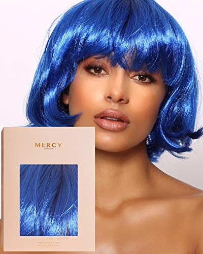 Metallic Meme Wig ✮ Party Bob Wig for Festivals Raves by Mercy in Blue Cropped Fringe