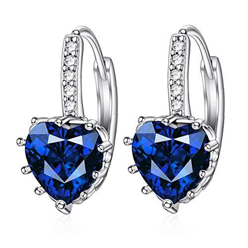En Forma de corazón Pendientes Zircon Rhinestone cuelga el oído de la joyería de la Boda del aro de Las Mujeres hipoalergénico Encanto Azul Marino