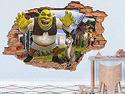 TJJC Etiqueta de la pared Shrek 3D Tatuajes de pared Etiqueta de la pared Etiqueta de vinilo extraíble Habitación de los niños Arte de la pared Niños Decoración de dibujos animados