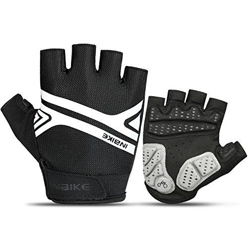 INBIKE Mountain Bike Gloves, Cycling Gloves Half Fingers MTB DH Road Riding Bicycle Biking Men Women Black Medium