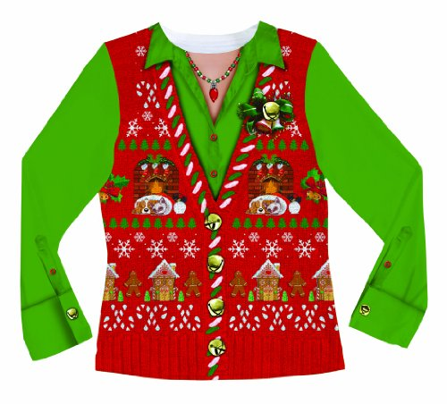 Faux Real Women's Ugly Xmas Sweater Vest Long Sleeve T-Shirt, Multi, Medium