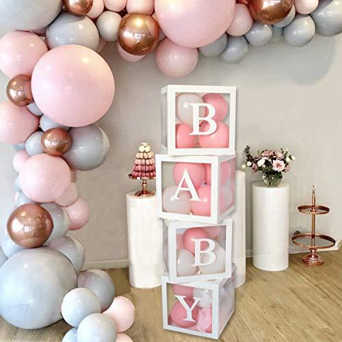 Kit de caja de decoración para baby shower - 4 cajas cuadradas blancas transparentes para baby shower que incluyen letras de BABY para suministros de fiesta decoración/cumpleaños/baby shower