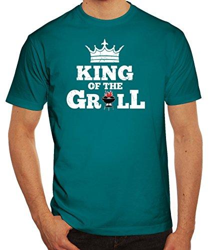 Grillen Grill Garten Party Herren Männer T-Shirt Rundhals King of The Grill, Größe: XL,Diva