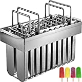 VEVOR 20PCs Stainless Steel Popsicle Models , Stainless Steel Ice Pop Models 98ml Capacity Each, Ice Cream Models Stainless Steel with 100PCs Popsicle Sticks Metal Popsicle Models w/Cleaning Brush