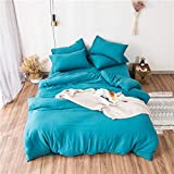 Lili Washed Cotton Bedding Set Solid Duvet Cover Set Soft Grey Bedclothes Japanese Style Home Bed Super King Size Bed linens Bed Set,Bright Blue Grey,220 by 240cm 4pcs