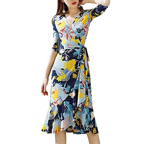 LZJDS Mujer Vestido Midi Cruzado de Flores Manga Corta Cuello En V Cinturón Elegante Vestido Gran Oscilación Acampanado,Multi Colored,M