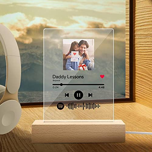 Custom Spotify Glass Art Night Light Personalized Scannable Spotify Code Photo Plaque Light Acrylic Song Plaque Night Light Music Sign Gift for Lover Friends - Can Upload Photo, Music & Singer Nam...