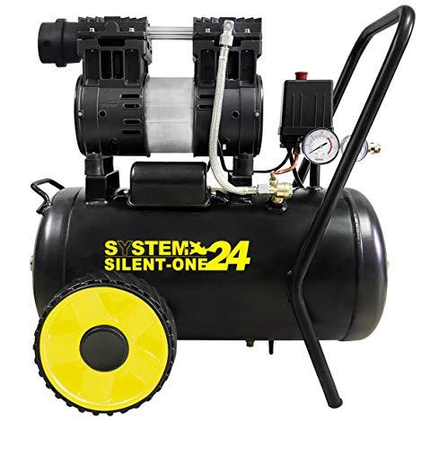 Compressore senza Olio SUPER SILENZIATO da 24 Litri 8 bar 65 dB ventilazione maggiorata, pressostato e due manometri.