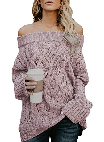 Breathable and elastic knitted fabric creates a relaxed fit Features: Slash Neck, Off Shoulder, Loose Fit, Knitted Sweater Tops The off the shoulder neckline allows you to wear this off one shoulder or both This off shoulder Knitted Sweaters Pullover...