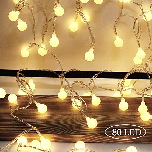 Aookey Lichterkette Batterie 80 LED Kugeln Lichterkette Batteriebetrieben 10 M Globe Lichterkette Außen Innen LED lichterkette für Weihnachten,Hochzeit, Party,Garten,Zimmer,Innen, Außen Lichterkette