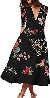 Women's Half Sleeve V-Neck High Waist Dresses, AmyDong Ladies Summer Printed Elegant A-Line Club Dress