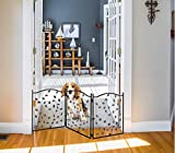 Zoogamo 3 Panel Leaf Design Metal Pet Gate - Durable Lightweight Extra Wide Expandable & Folding Home/Indoor/Outdoor Dog Fence