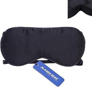 Alaska Bear (アラスカ ベアー) アイマスク 睡眠マスク 超軽量 超ソフト100% 純正シルク 快眠 昼寝、旅行グッズ 2本のバンド
