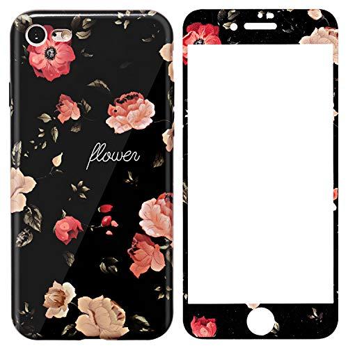 Preisvergleich Produktbild ZXK Co iphone 7 / iPhone 8 Handyhülle Blumen,  TPU Weiche hülle mit gehärtetem 9H-Displayschutz Schutzhülle für iphone 7 / iPhone 8