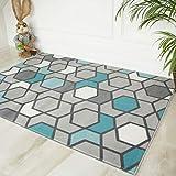 The Rug House Alfombra Geométrica ContemporáneaAsequibleen Colores Gris y Agua Marina para la Sala de Estar 80cm x 150cm