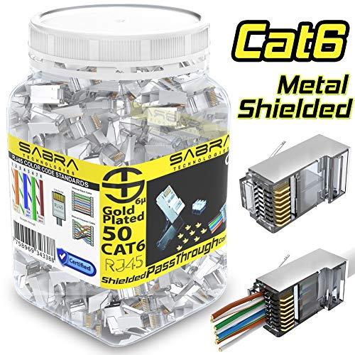 Shielded Cat6 Connectors (50 PCS) RJ45 PassThrough Internal Ground FTP STP Connectors, Gold Plated 6 Micron 6µ 3 Prong Pins (Cat6 /50 PCS)