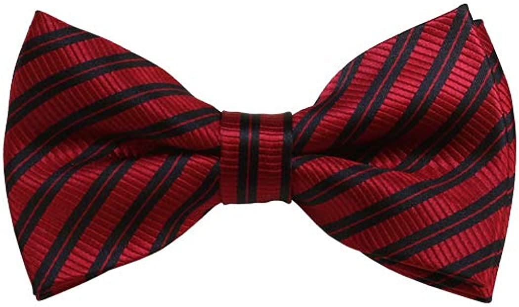 Red And Black Striped Woven Pre-Tied Bow Tie
