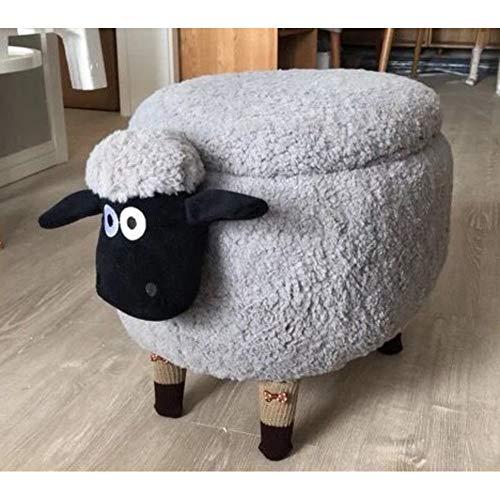 CNZXCO Kinder Tiere Schafe Lagerung hocker, Velvet Polstermöbel Osmanischen Fußhocker 4 dreibein Massivholz Sofa Kaffee Schuh-hocker, Für Kinder Und Erwachsene-Grau B