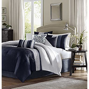 Madison Park Amherst Queen Size Bed Comforter Set Bed In A Bag - Navy, Light Grey, Pieced Stripes – 7 Pieces Bedding Sets – Ultra Soft Microfiber Bedroom Comforters