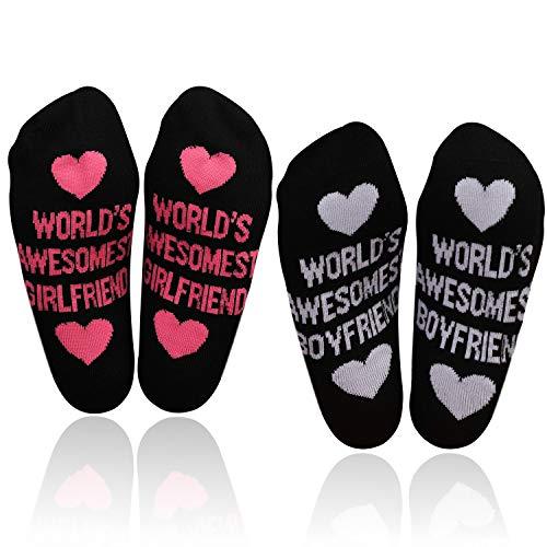 """HOWAF 2 Paare Lustige Baumwolle Socken für Männer Frauen Damen, World's Awesomest Girlfriend/Boyfriend"""" Valentinstag Socken witziges Geschenk für ihn, sie, Partner"""