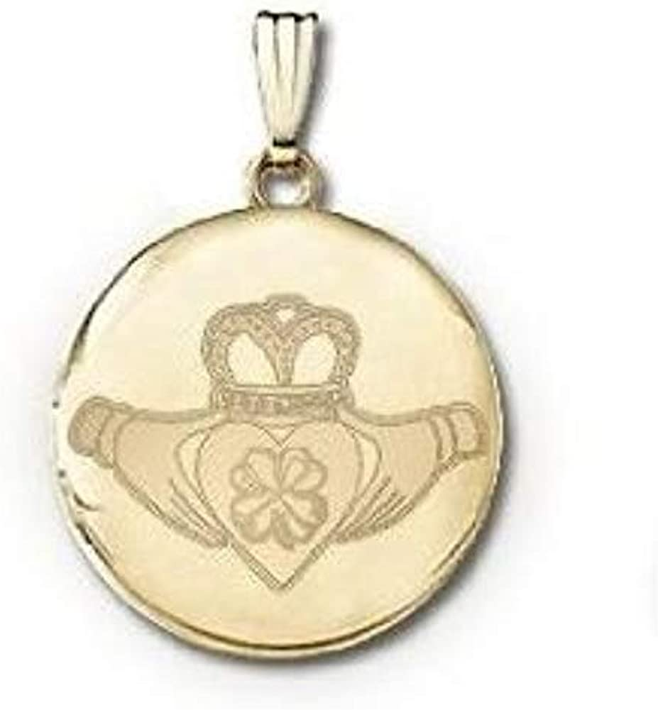 14k Yellow Gold Round Celtic Claddagh and Clover Picture Locket