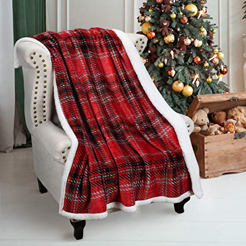 Catalonia Plaid Kariert Sherpa Throw Blanket,Reversible Super Soft Warm Comfy Fuzzy Snuggle Micro Fleece Plush Throws for Bedding Couch TV 150 x 130 cm Buffalo Check