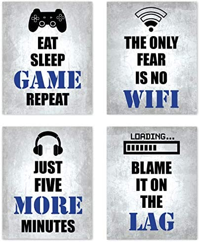Video Game Themed Gamer Wall Art Posters Home Decor Black White and Blue Gaming Bedroom Pictures product image