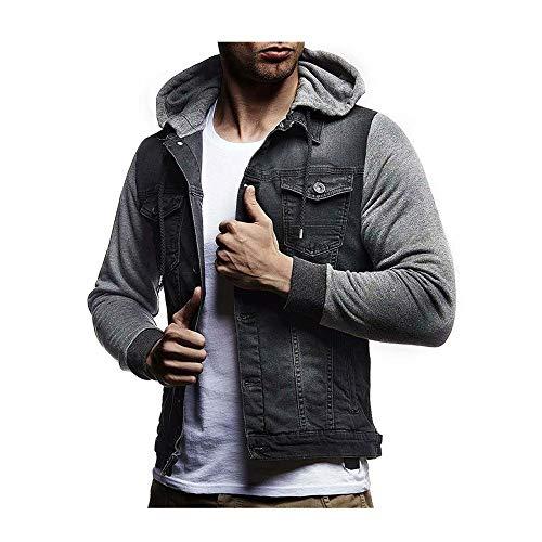 Celucke Herren Denimjacke mit Jersey-Kapuze,Männer Jeansjacke Herbst Winter Distressed Denim Jacke Tops Mantel Outwear