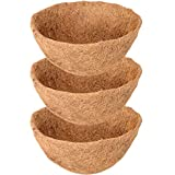 ZeeDix 3 Pack 14 Inch Hanging Basket Coco Liners Replacement, 100% Natural Round Coconut Coco Fiber Planter Basket Liners for Hanging Basket Flowers/Vegetables
