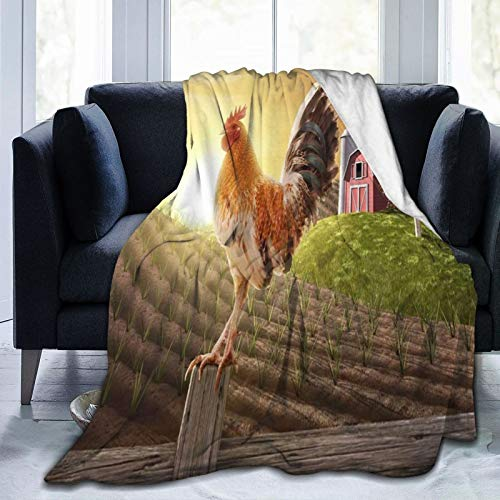 Rooster On A Wooden Fence Air conditioner blanket,air conditioner blanket by Ultra-Soft Micro Fleece Blanket (vertical)