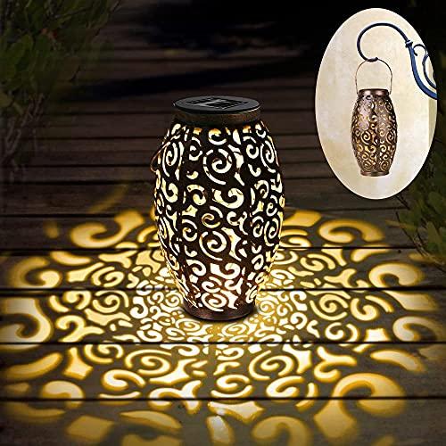 Linterna solar de luz para colgar al aire libre, luces de jardín, lámpara de metal, decoraciones al aire libre para patio, porche, césped, patio, accesorios de jardín de arte