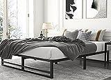 Amolife Metal Platform Bed Frame with Wood Slat Support,Mattress Foundation, Full Size Bed Frame, Black
