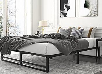 Amolife Metal Platform Bed Frame with Wood Slat Support,Mattress Foundation Full Size Bed Frame Black