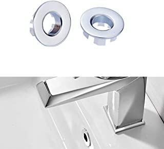 SuperMore Basin Sink Vanity Sink Overflow Cover Brass Ceramic Bathroom Vessel Kitchen Basin Trim Remplacement Round Caps Insert in Hole Chrome 2 Pack (Silver)