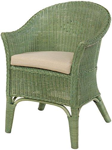 Rattan-Sessel Natur Korb-Sessel Rattansessel Rattanstuhl mit Armlehnen Lounge Flechtsessel (Grün, mit Polster)