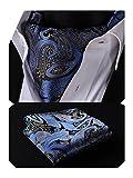 HISDERN Uomo Paisley floreale jacquard Woven Ascot & fazzoletto Set blu/giallo