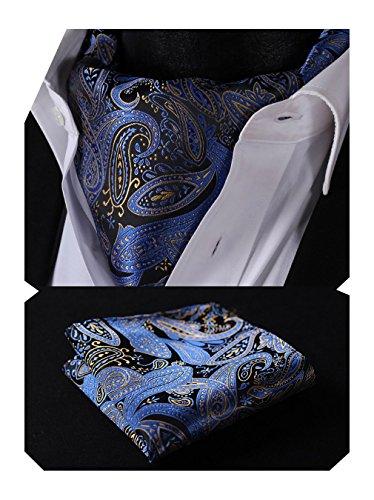 HISDERN Krawattenschal Herren Blau Gelb Paisley Elegant Halstuch Hochzeit Business Ascot Krawatte und Einstecktuch Set