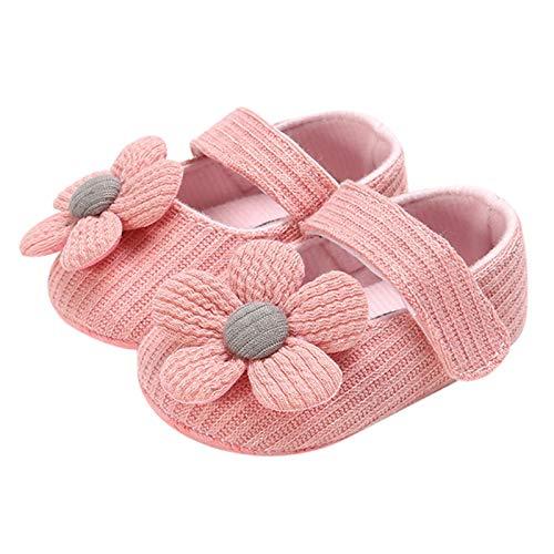 Pilink 11/12/13 cm recién nacido bebé niñas zapatos de cuna de algodón con decoración de flores clásica princesa sujetar cinta zapatos para niños pequeños
