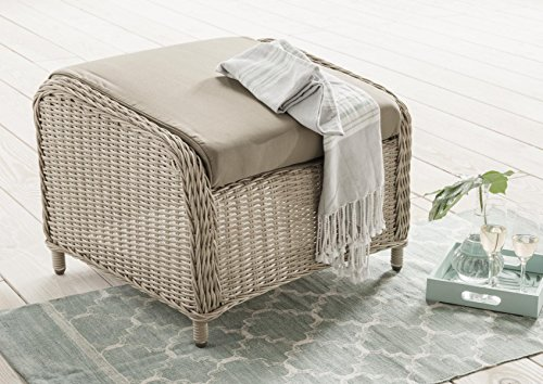 Destiny Lounge Hocker Casa Pearl Shell Luna Palma Fußhocker Polyrattan Beinauflage