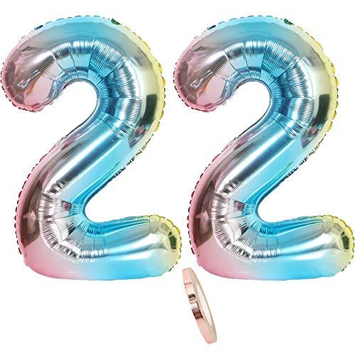 2 Luftballons Zahl 22, Nummer 22 Luftballon Regenbogen Mädchen Junge Jungs,32