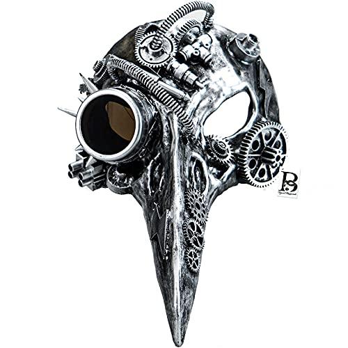 Steampunk Plague Doctor Mask Evil Long Nose Bird Devil Masquerade Ball Halloween Mask Cosplay (Silver)