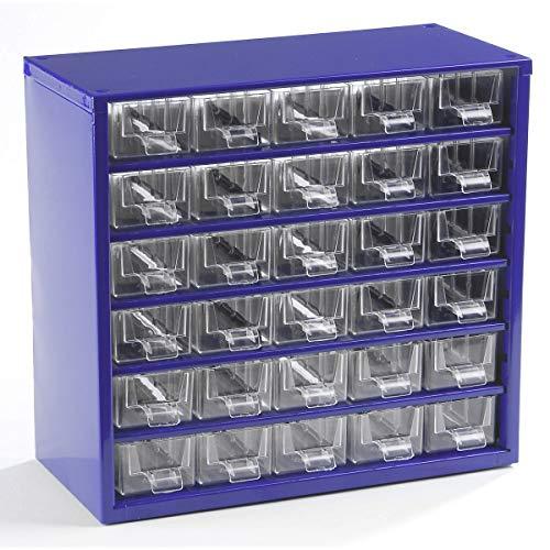 Certeo Schubladenmagazin aus Stahl | HxBxT 282 x 306 x 155 mm | 30 Schubladen | Ultramarinblau | Kleinteilelager Klarsichtmagazin Sortimentkasten