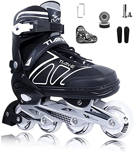 XIUWOUG Inline Skates for Kids Girls and Boys Adjustable Inline Skates with 8 Luminous Wheels for Indoor and Outdoor Unisex Adult Beginner Fitness Skates S XLBlackXL 4245