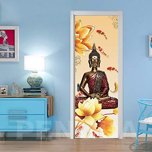 Deur Sticker 3D zelfklevend Boeddha-beeld met mooi bloemen deurbehang muurschildering pvc fotobehang waterdicht deurposter afneembaar behang voor deurpanel slaapkamer keuken badkamer deur dek 95x215cm